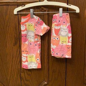 Cute owl print summer pjs girls size 3